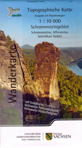 Hiking map Schrammstein area / Saxon Switzerland